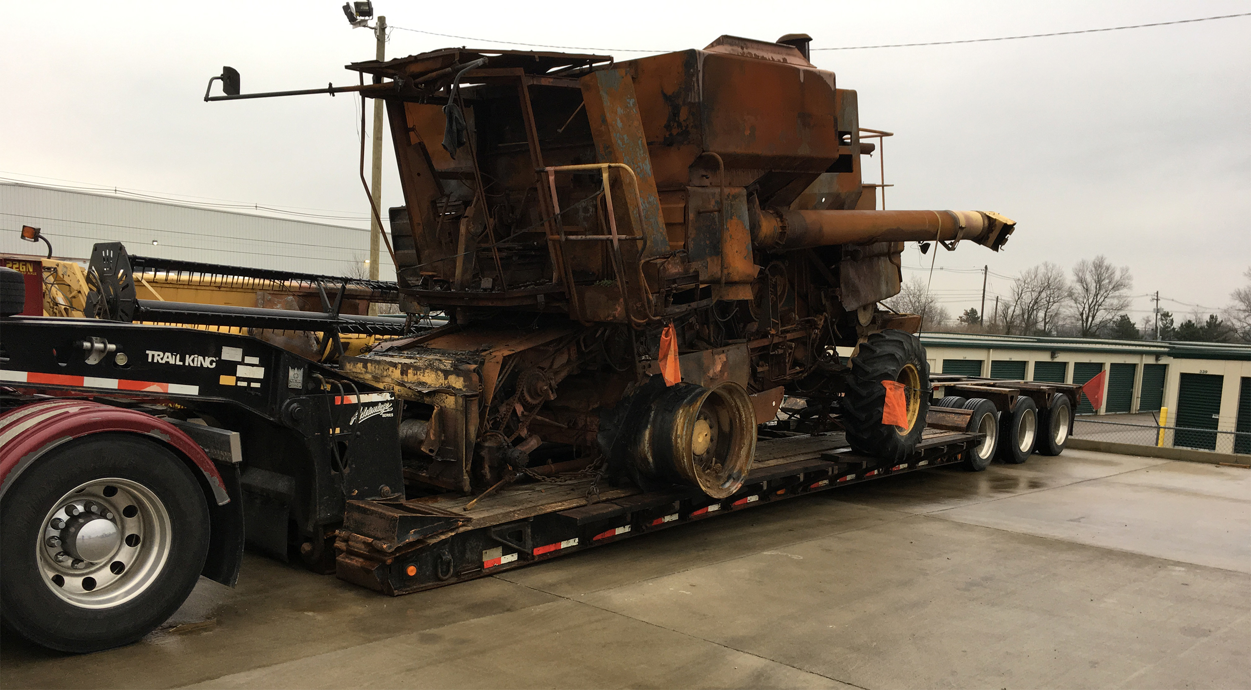 Transporting an Inoperable International Harvester Combine